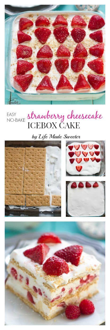 Strawberry Icebox Cake (NO BAKE + Cheesecake filling) + Recipe VIDEO