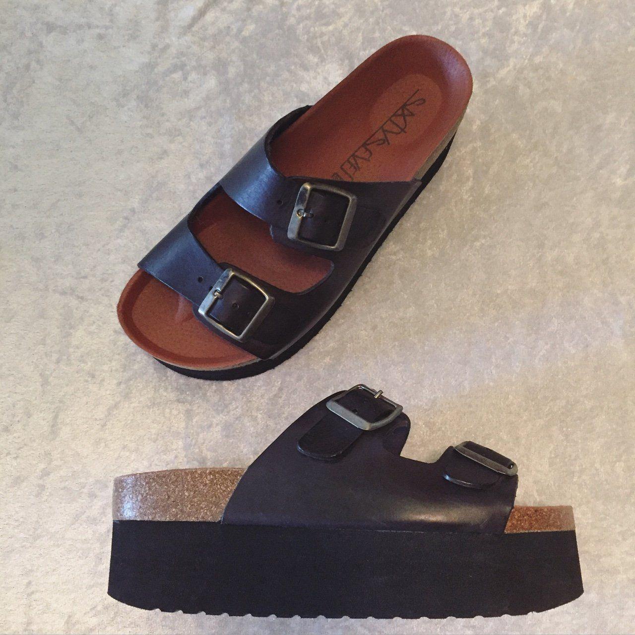 SIXTY SEVEN platform black sandals