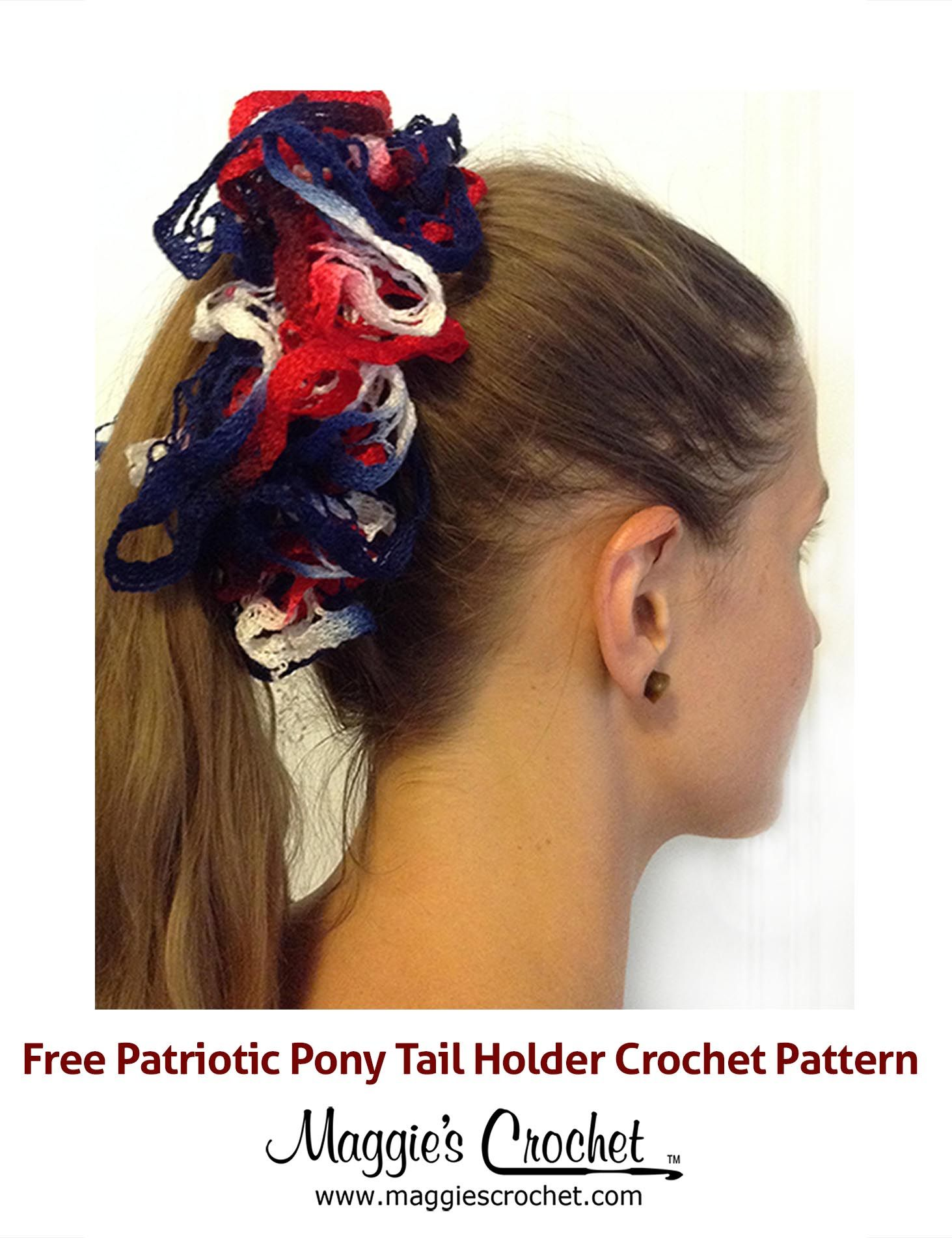 Patriotic Pony Tail Holder Free Crochet Pattern from Maggie\'s ...
