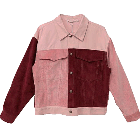 6fee87eb50f45 PATCH COLORED PINKY RED DENIM JACKET