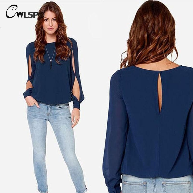 New Casual Women Blouses Summer Hollow Out Sleeve Women Tops Hole Back Chiffon Blouse Plus Size ZLY215