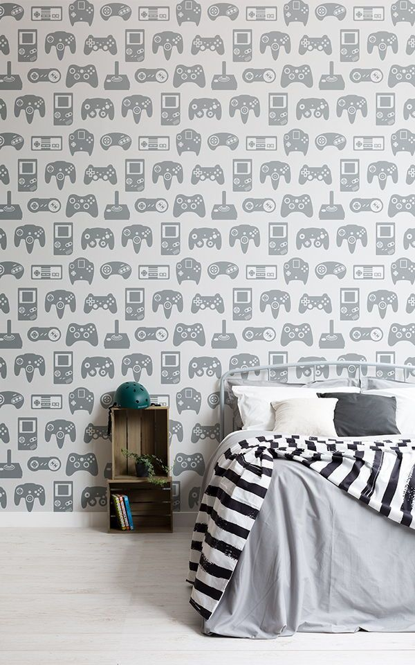 Blue And White Retro Game Wall Mural Teenage Wallpaper Designs Teenager Bed Boys Bedroom Wallpaper Childrens Bedroom Wallpaper Wallpaper Design For Bedroom
