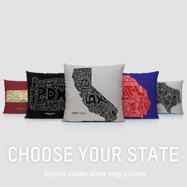 Airport Codes Usa States Map Pillows Travel Aviation Iata