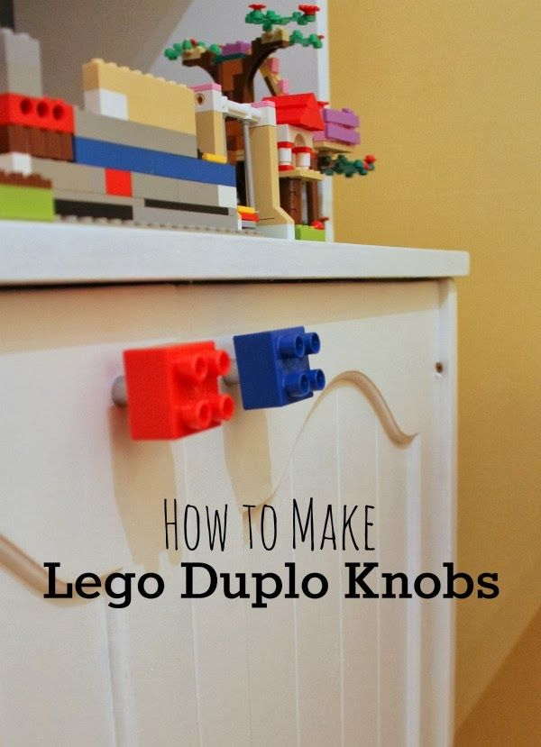 A simple how-to:  Lego Duplo Door Pulls - cute, easy, cheap!  A great way to add some lego fun to decorate a kids bedroom or playroom. Your Lego fan will thank you!