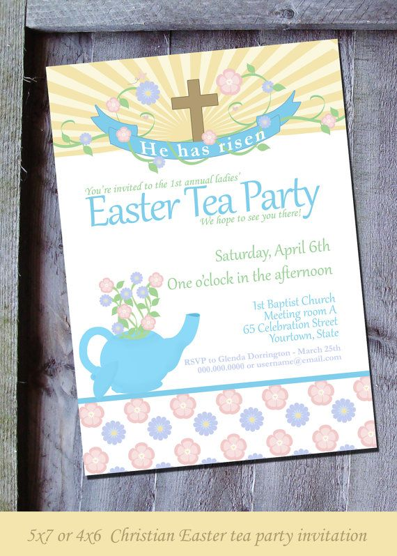Christian Easter party invitation for tea parties, brunch & more by SimplySoirees. Perfect for individuals or church group parties.