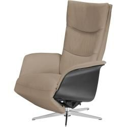 Photo of Relax armchair beige – leather Mika ¦ beige ¦ Dimensions (cm): W: 77 H: 109 D: 82 Upholstered furniture> Armchairs> Ferns