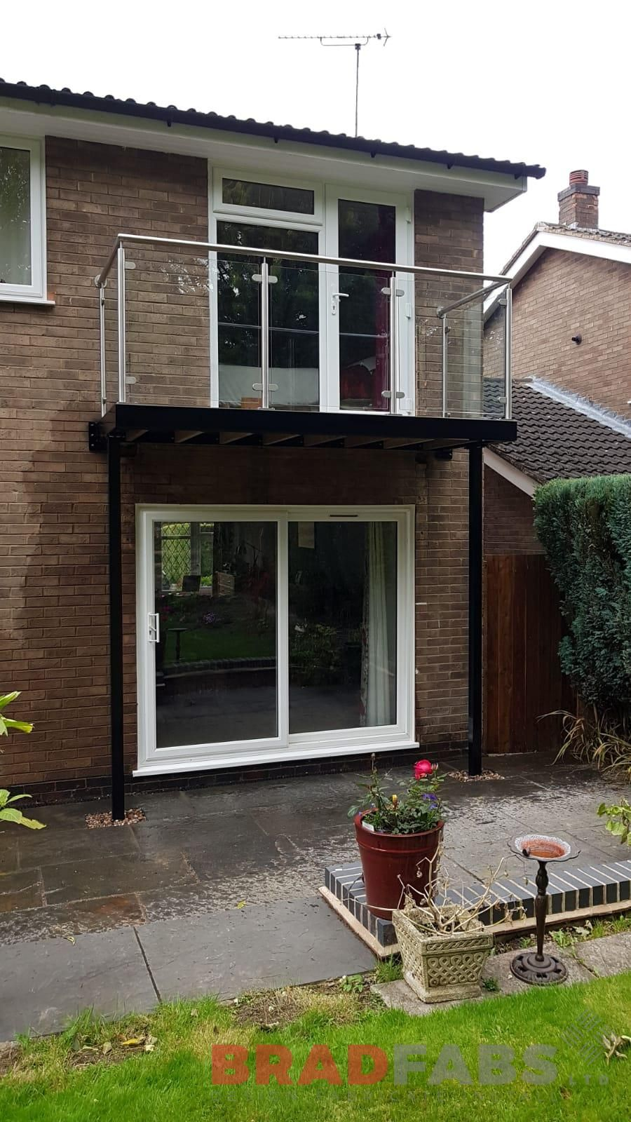 Glass Infill Photo Gallery: Small Yet Stylish Balcony Overlooking This Customers Beautiful Garden, Manufactured In Mild