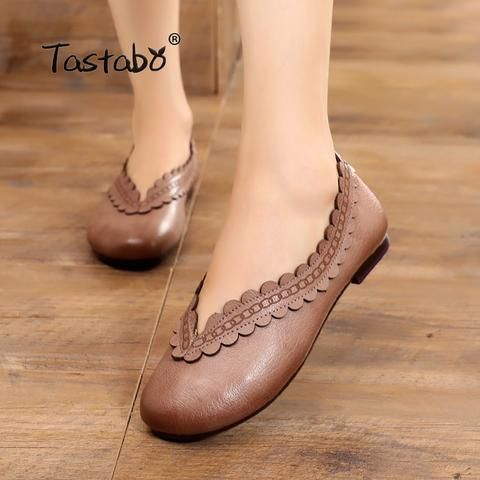 b367311206 Tastabo Genuine Leather Flat Shoe Pregnant Women Shoe Mother Driving Shoe  Female Moccasins Fashion Women Flats