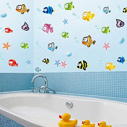 ROKOO Poissons Cartoon Underwater World Stickers Muraux PVC