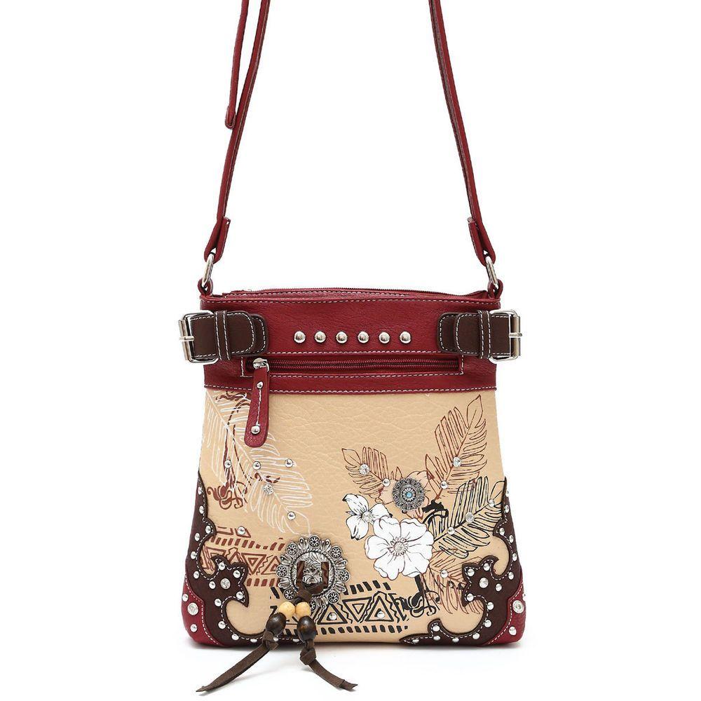 Western Cowboy Flower Print Design Messenger Bag #GetEverythingElse #MessengerCrossBody