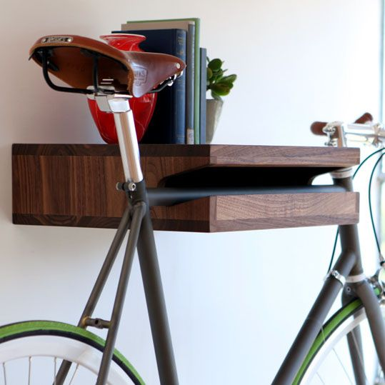 Unique Bike Storage Ideas With Small Modern Table Furniture Wooden Materials With Bookshelf Modern Home Interior & could this work for surfboards? combine racks with shelves to ...