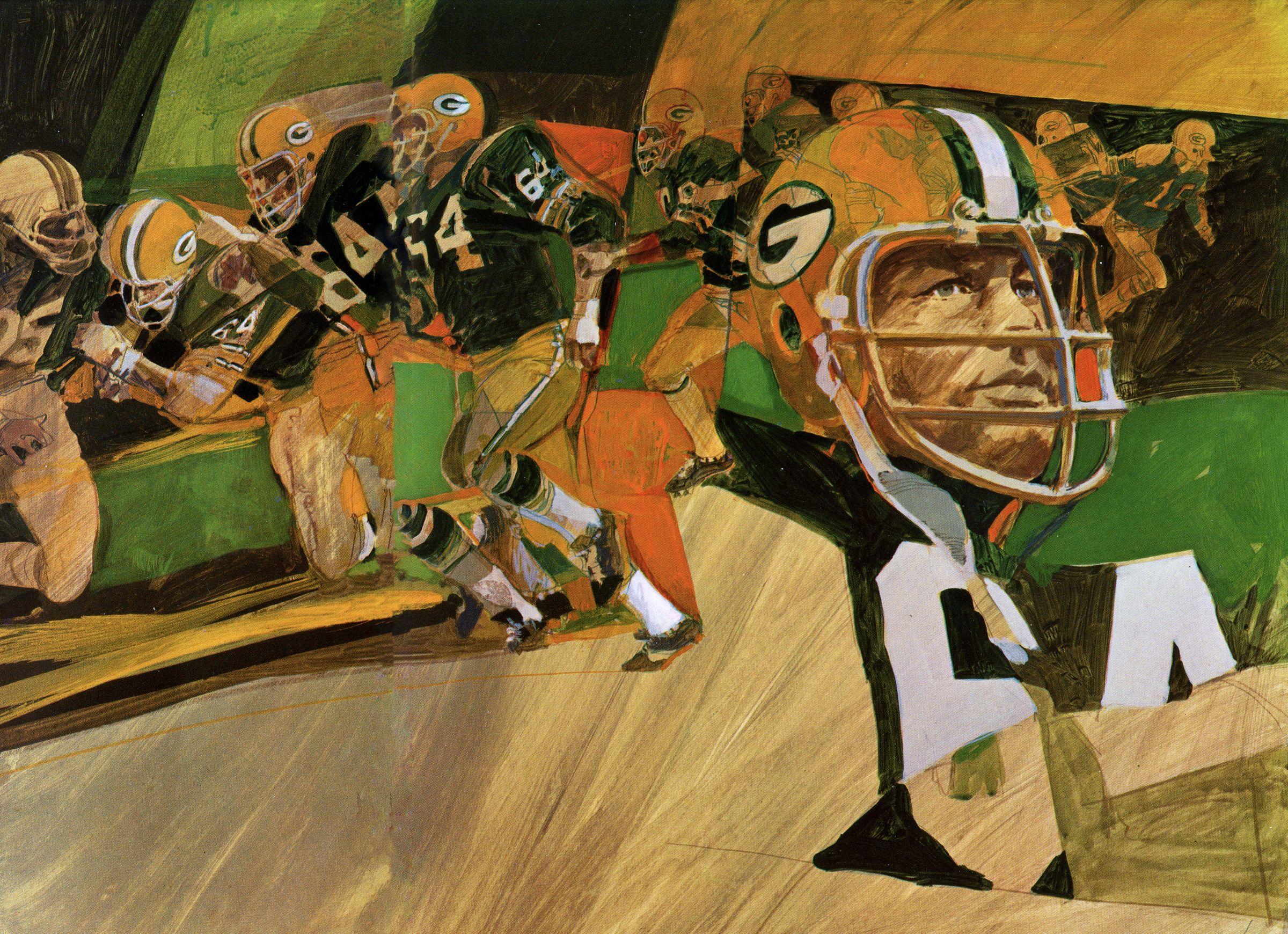 Guard Jerry Kramer Green Bay Packers Painting By George Bartell C 1969 Green Bay Packers Art Nfl Football Art Football Art