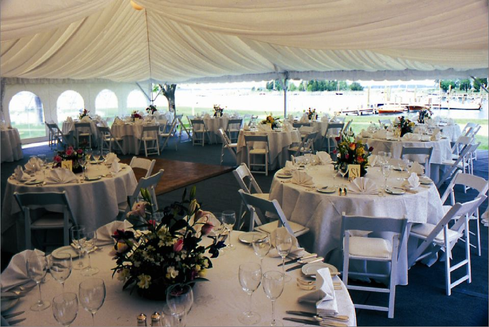 Wedding Tent With White Gathered Fabric Tent Liner Sub Floor With Carpet White Padded Seat Garden Chairs White Tabl Tent Chair Party Rentals Wedding Rentals