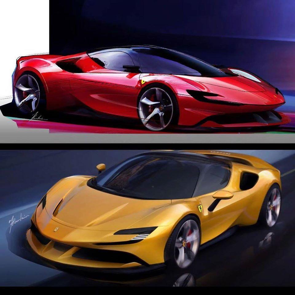 Ferrari sf90 Stradale official sketches via @cardesignsketch on instagram.com