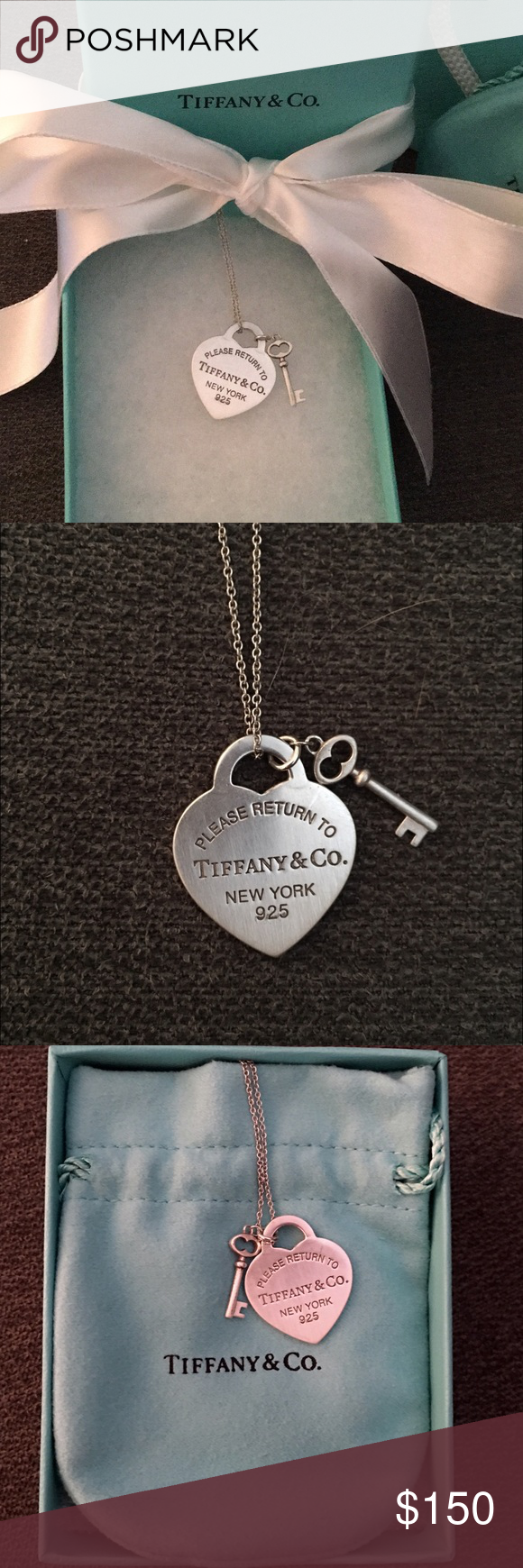 7331401eef35 Tiffany   Co. Silver Necklace Heart Tag The classic Return to Tiffany Heart  Tag With Key Pendant. In perfect condition