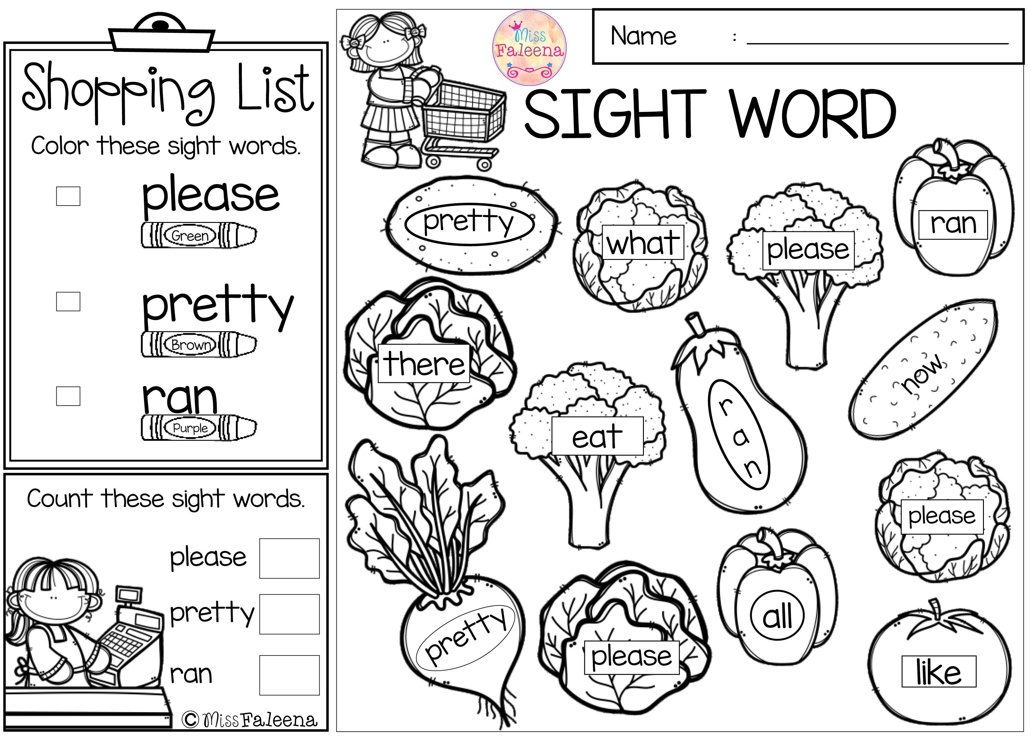 Free Sight Word Shop Find Amp Color