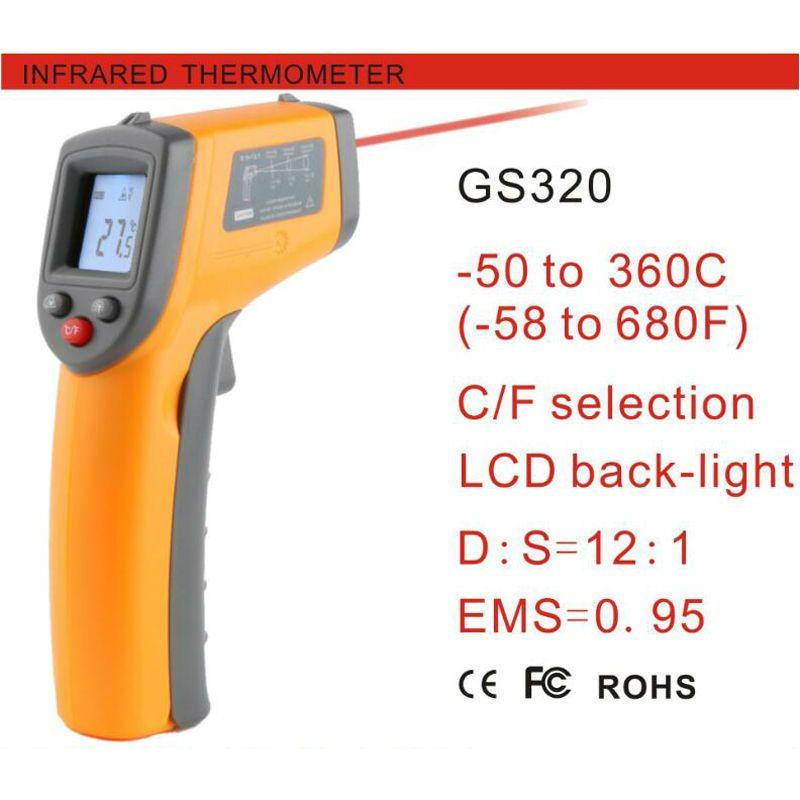 GS320 sin contacto Del Laser Digital termómetro infrarrojo-50 ~ 360C (-58 ~ 680F) Themperature Pyrometer IR Punto del Laser del Arma