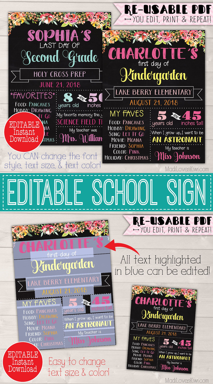 Editable Text INSTANT DOWNLOAD First Day of School Chalkboard Print DIY Art Print Grade School Flower Kindergarten Chalkboard Sign