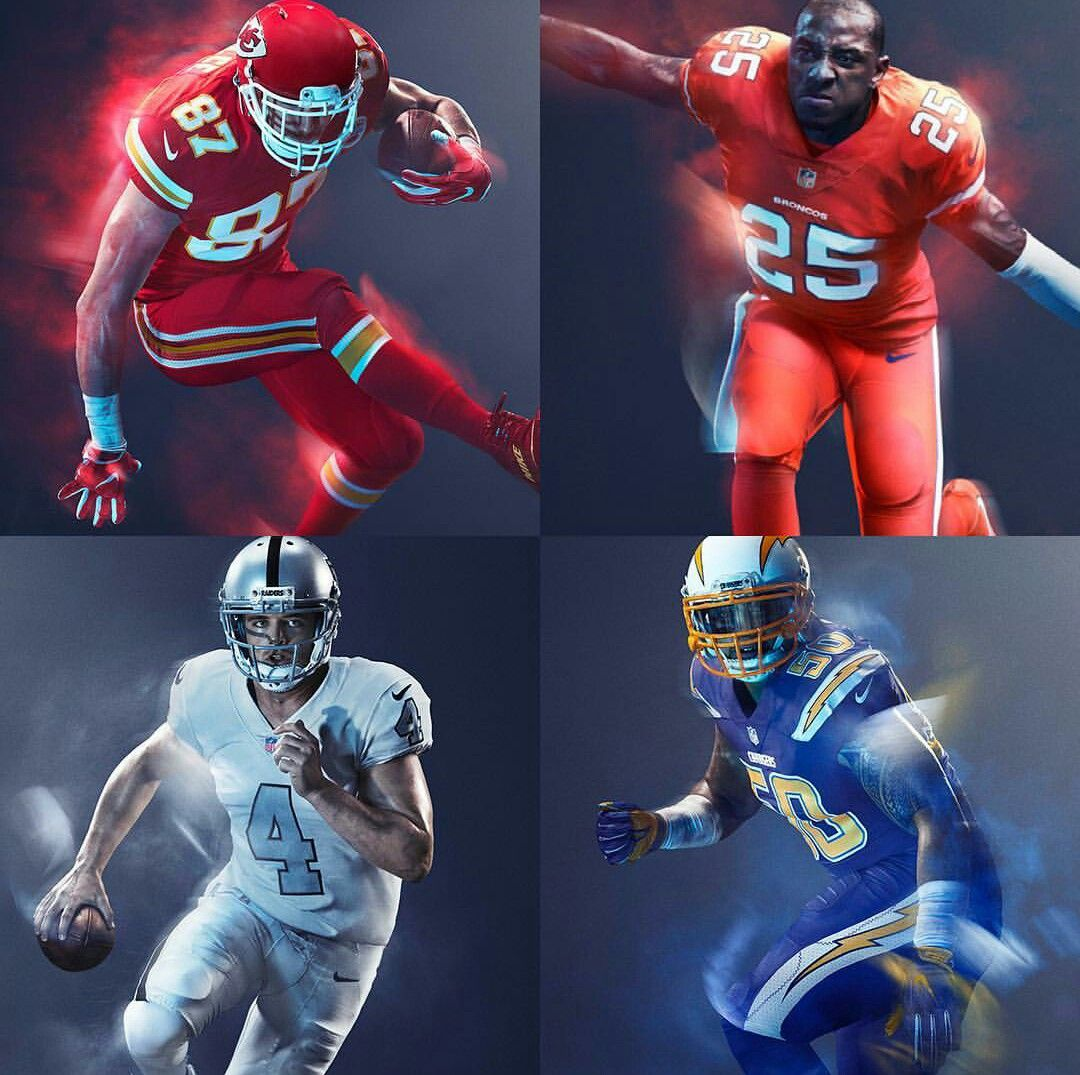 Nfl Afc West Color Rush Uniforms Nfl Color Rush Uniforms Nfl Uniforms Nfl Football Uniforms