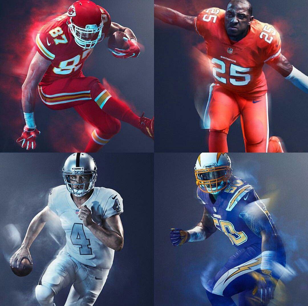 Nfl Afc West Color Rush Uniforms Nfl Football Uniforms Color Rush Uniforms Nfl Color Rush Uniforms