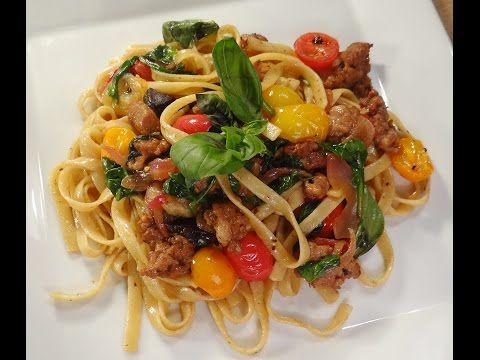 Fettuccine with mushrooms and sausage - YouTube