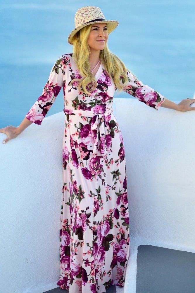 196b7479e8 Light Pink Floral Draped 3 4 Sleeve Maxi Dress