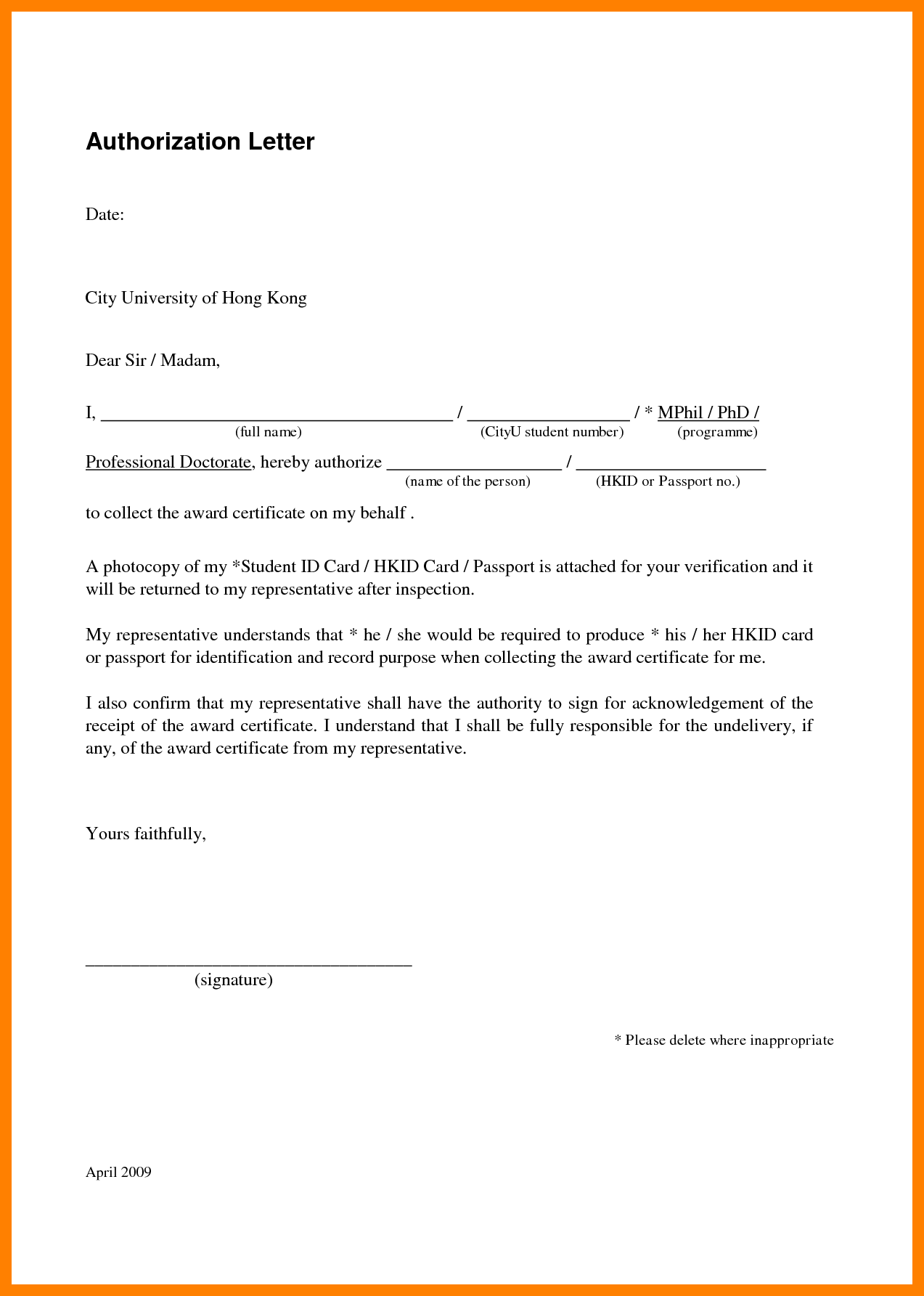Sample Authorization Letter To Collect Tender Document
