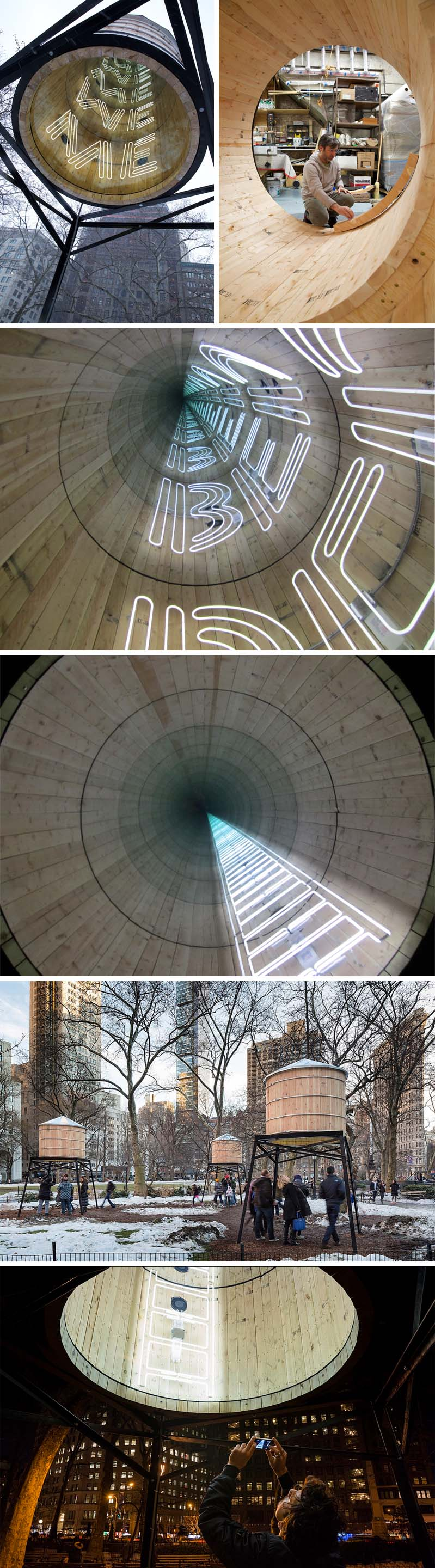 'This Land is Your Land' site-specific light installation by Iván Navarro in NYC's Madison Square Park
