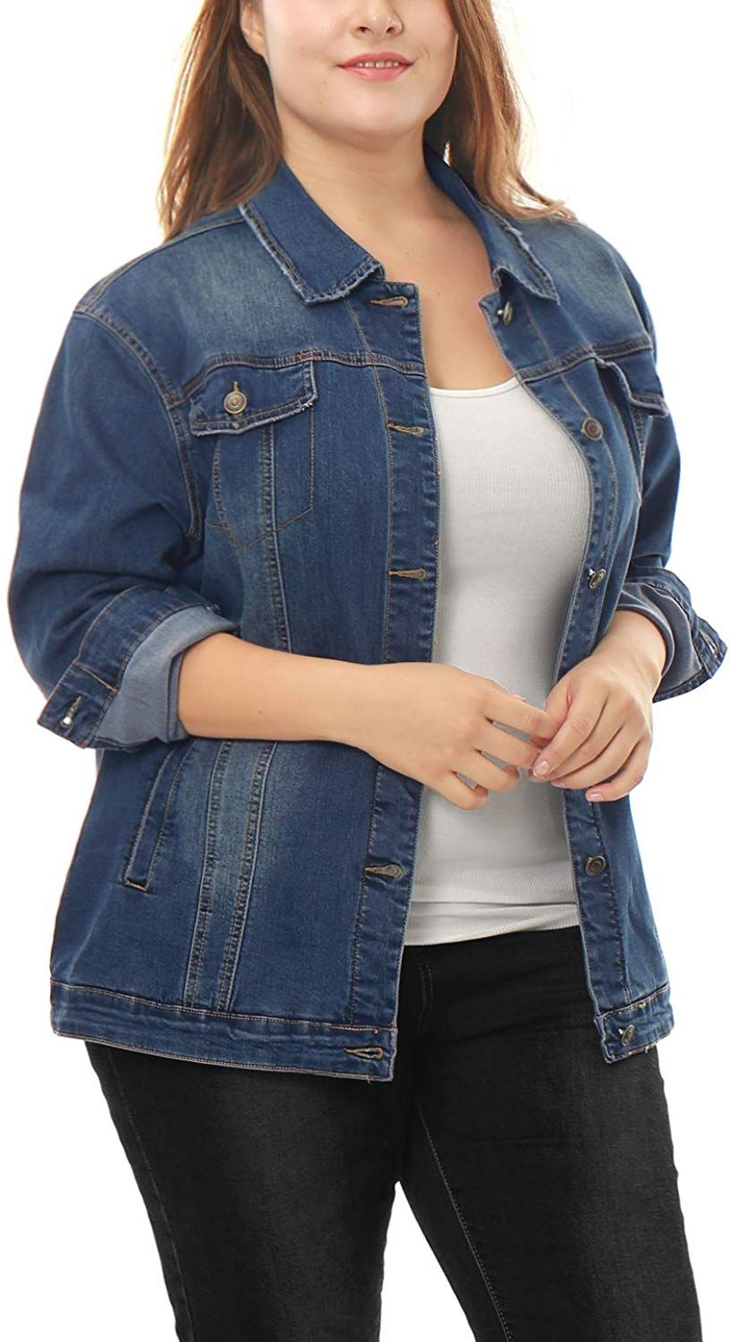 Uxcell Women S Plus Size Button Down Washed Denim Jacket With Chest Flap Pocket Blue 1x At Amazon Women S Coats Shop Denim Jacket Jackets Denim Wash [ 1500 x 817 Pixel ]