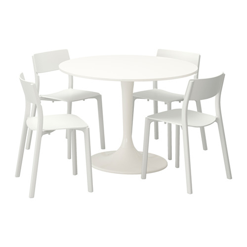 Ikea Round Table And Chairs: IKEA DOCKSTA / JANINGE White, White Table And 4 Chairs