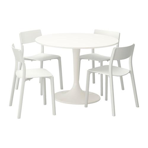 Ikea Eettafel 4 Stoelen.Docksta Janinge Tafel En 4 Stoelen Wit Wit Eettafel