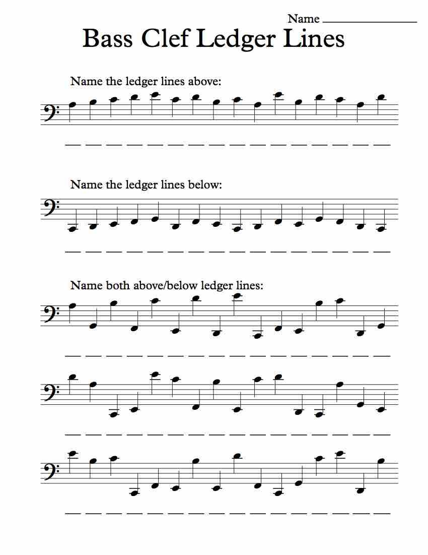 Bass Clef Ledger Lines – Worksheet | Clef, Worksheets and Bass
