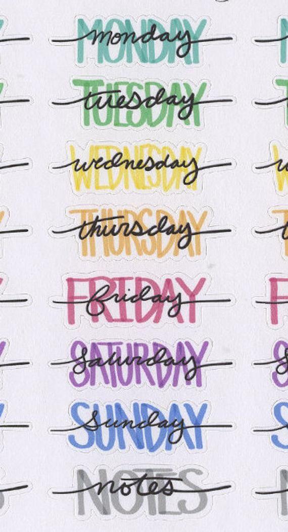 BUNTE Wochentag Header Sticker Handgezeichnete BuJo Stil | Etsy