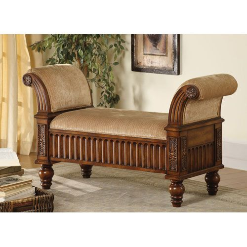 Delightful Tan Upholstered Bench With Rolled Arms Coaster Furniture Benches Accent U0026  Storage Benches