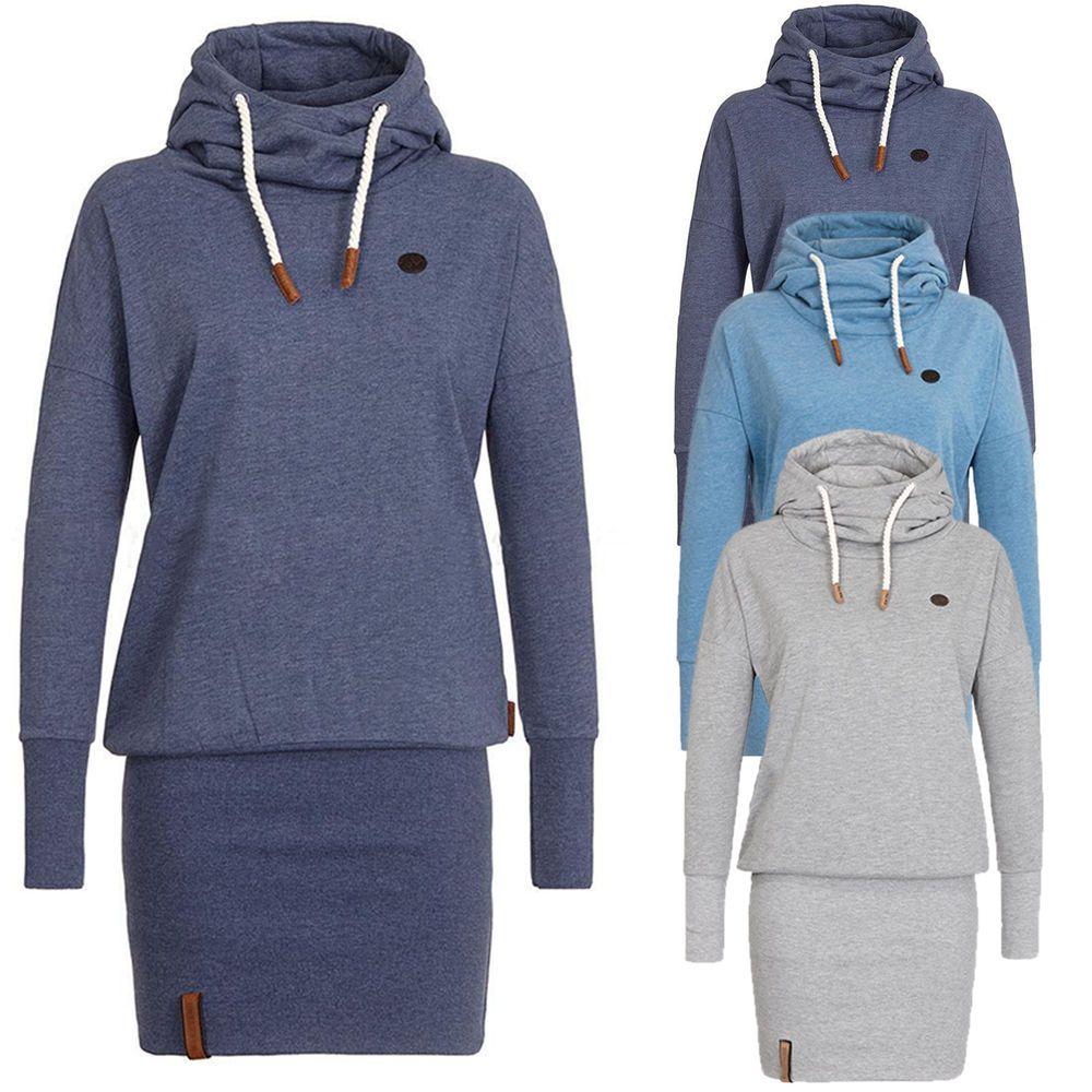 timeless design 16b49 63e48 Damen Hoodie Minikleid Bodycon Pullover Kapuze Sweatshirt ...