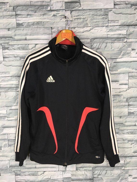 0c9a76253ff ADIDAS Jacket Windbreaker Medium Vintage 90's Adidas Equipment Three  Stripes Track Top Sportswear Bl