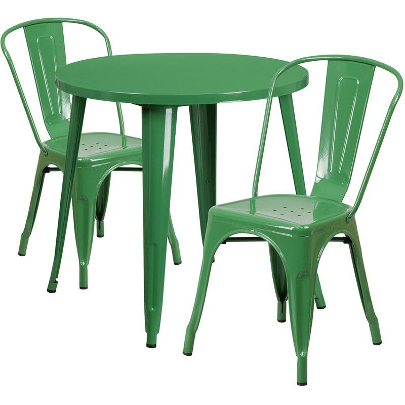 Round Metal IndoorOutdoor Table Set With Cafe Chairs - Metal cafe table and chairs