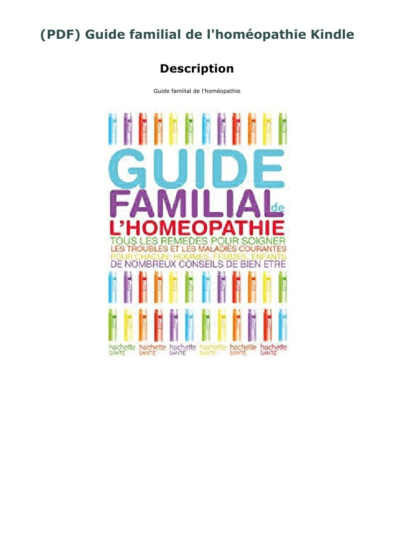 Pdf Guide Familial De L Homeopathie Kindle Pincode