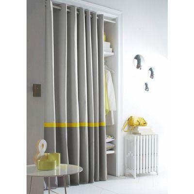 Rideau oeillets tricolore pur coton tectonic bicolore - Rideau salon gris ...