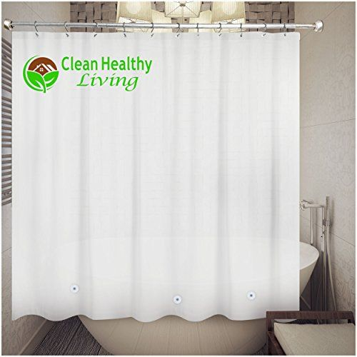 Heavy Duty PEVA Shower Liner Curtain Odorless Anti Mold With Magnets Suction Cups Its 70 X 71 In Long And Weight White Color Click Image For More