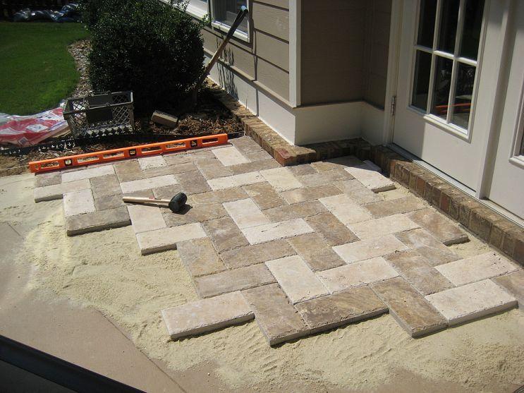 Charming Natural Stone Paver Patio (similar To 8x16 Concrete Pavers In Herringbone  Pattern)