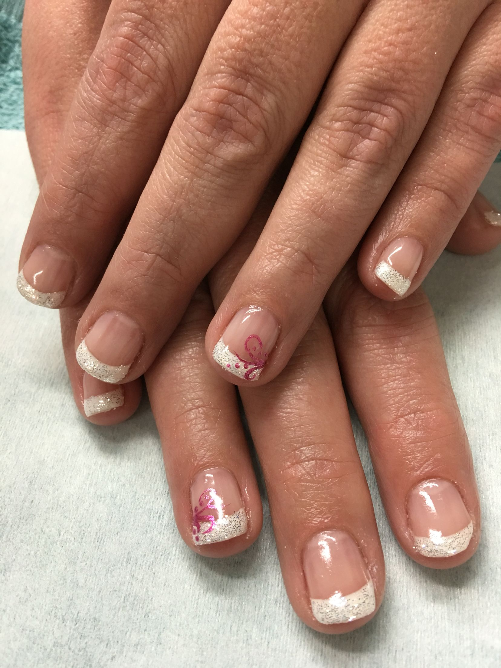 Sparkle white French gel nails with pink accents | Gel Nail designs ...