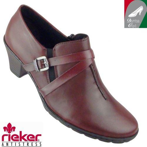 Rieker női bőr cipő 57154-35 bordó - Zárt női félcipők  - Őszi-téli női  cipők 10716f98e1