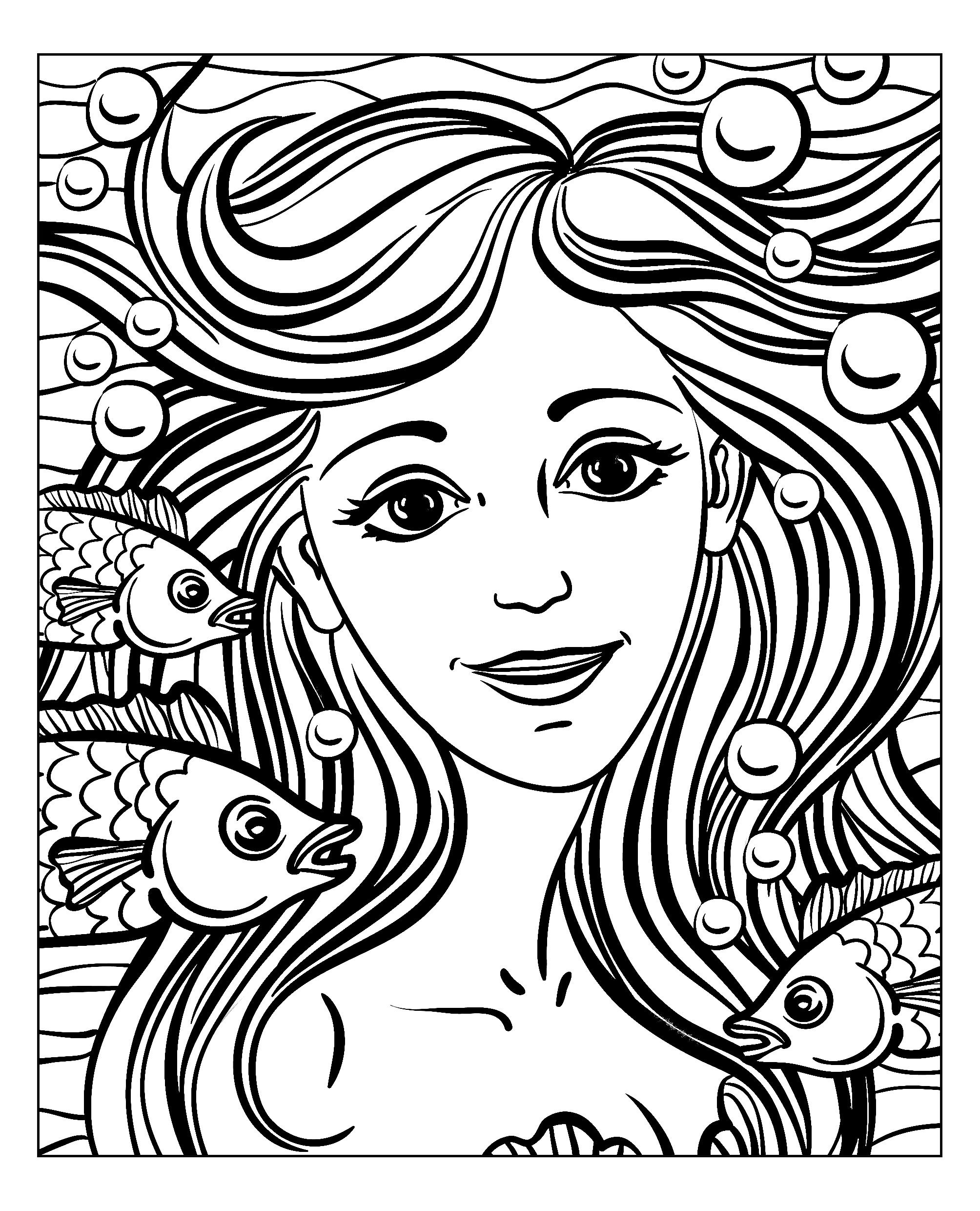 Uncategorized Face Coloring Pages free coloring page adult mermaid by natuskadpi beautiful face