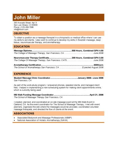 Free Massage Therapist Resumes Download free resume templates in MS - Entry Level Resume