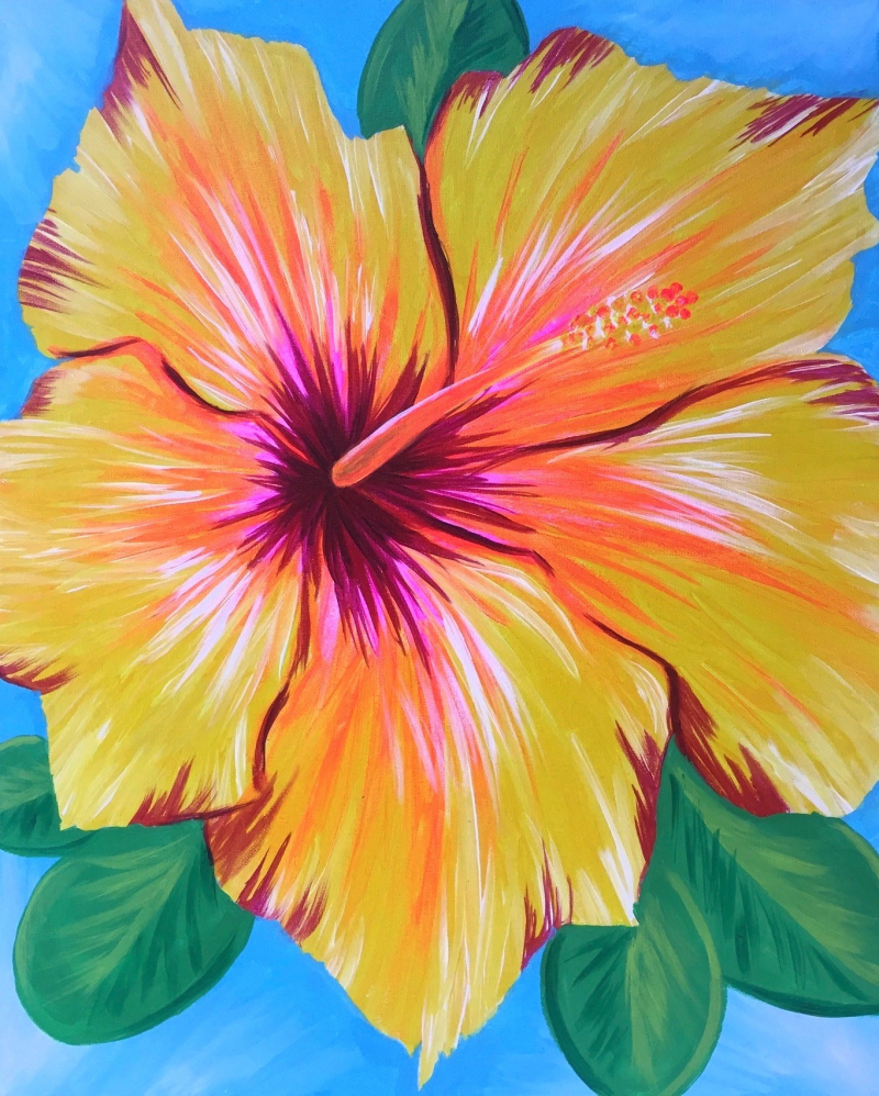 Yellow hibiscus flower painting view paint and s painting yellow hibiscus flower painting view paint and sip pinots palette izmirmasajfo