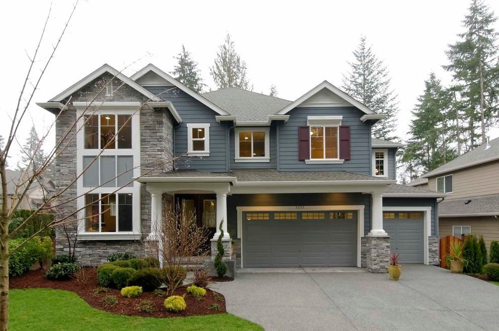 Boral Siding Traditional Exterior And Blue House Clapboard Columns Curb Appeal Double Hung W Traditional Exterior Stucco And Stone Exterior Country House Plans