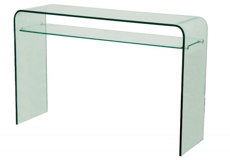 console design fixe side en verre tremp transparent