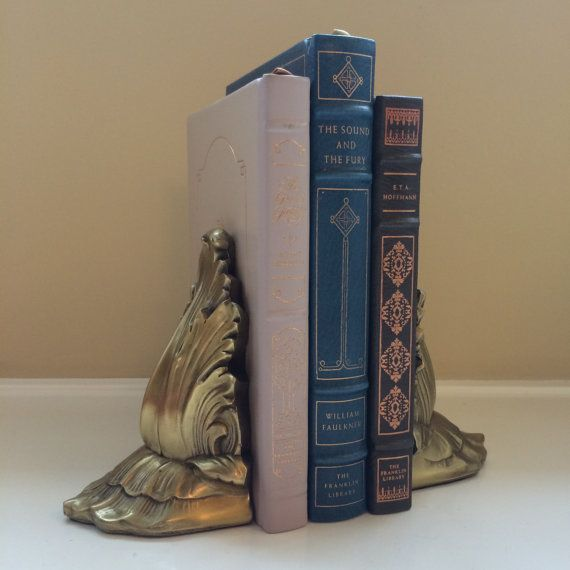 Vintage Flourish Pair of Brass Bookends by by TinselandFlamingo