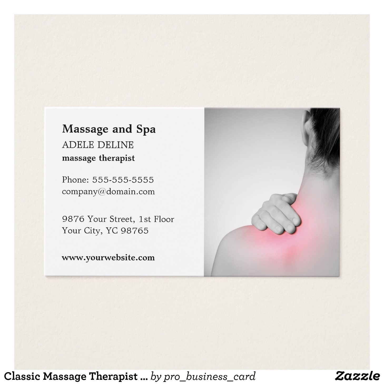 The marvellous Classic Massage Therapist Business Card
